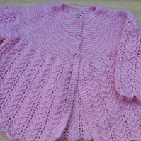 Hand knitted baby girl pink cardigan 6 - 12 months