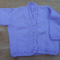 Baby cardigan hand knitted sparkly lilac yarn 6 - 12 months