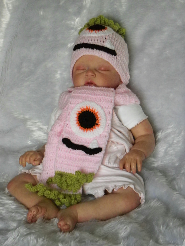 Hand crochet pink baby halloween monster hat and scarf