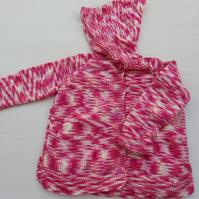 Hand knitted girls red and yellow hooded cardigan 2 - 3 years