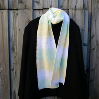 Hand knitted long and wide scarf in white lemon and lime