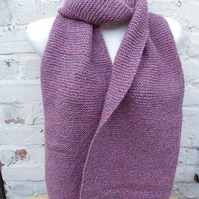 Hand knitted long and wide scarf in heather tones