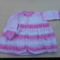 Baby girls pink and white Cardigan with textured hearts to fit 3 - 6 months