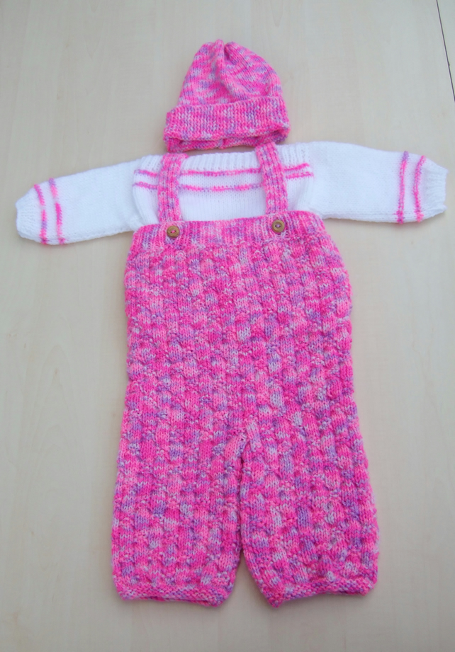 Hand knitted baby girl jumper dungarees and hat set 0 - 3 months pink mix