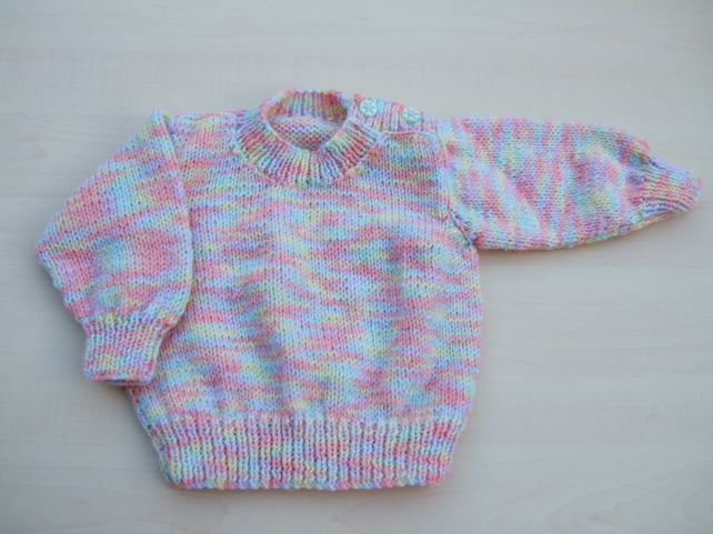 Hand knitted baby jumper 3 - 6 months pastel mix