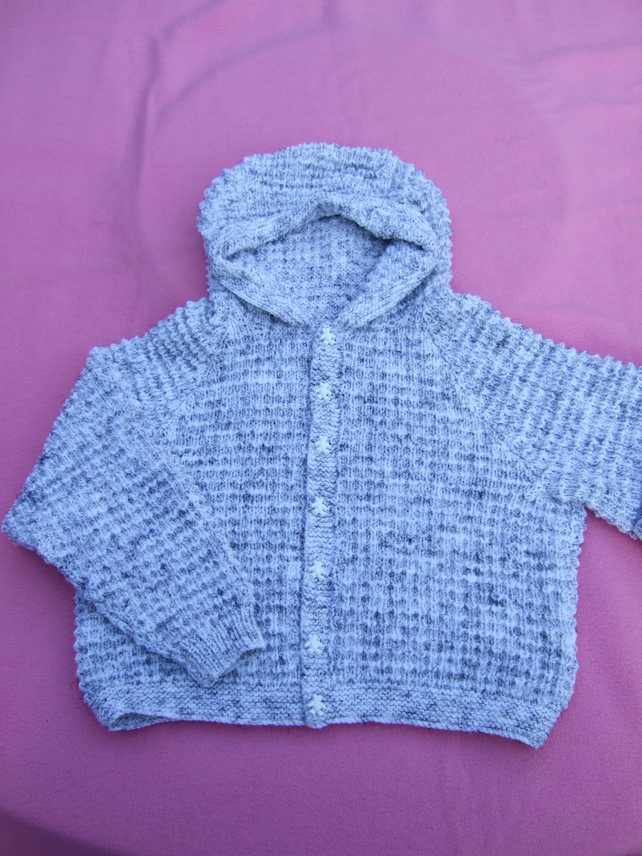 Hand knitted boys hooded cardigan or jacket to fit 5 - 6 years