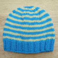 Hand knitted baby beanie hat blue and yellow stripes 0 - 3 months