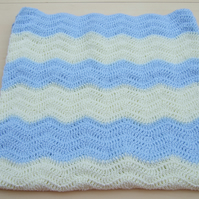 Baby ripple blanket or afghan hand crochet in sparkly blue and lemon