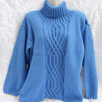 Hand knitted ladies blue roll neck jumper sweater 36 inch - 91 cm chest