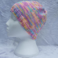 Girls lilac blue and pink hand knitted hat