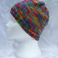 Hand knitted beanie hat in multicolour yarn red blue for children or teenagers