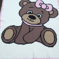 Hand crochet baby blanket or afghan with cute girl or boy teddy bear