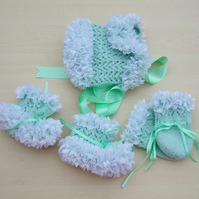 Hand knitted baby lace bonnet booties and mittens set 0 - 3 months mint green