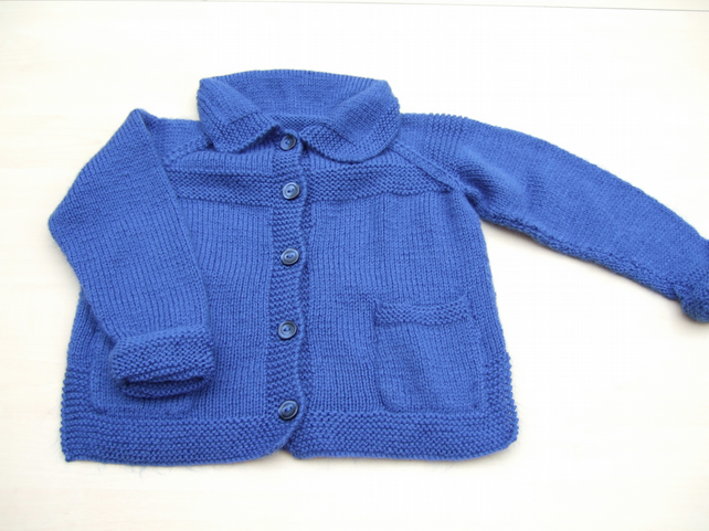 Hand knitted boys girls blue cardigan with pockets 2 - 3 years