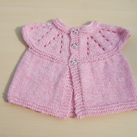 Baby sleeveless cardigan hand knitted in pink and cream mix - newborn