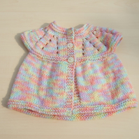 Baby sleeveless cardigan hand knitted in pastel mixture yarn - newborn