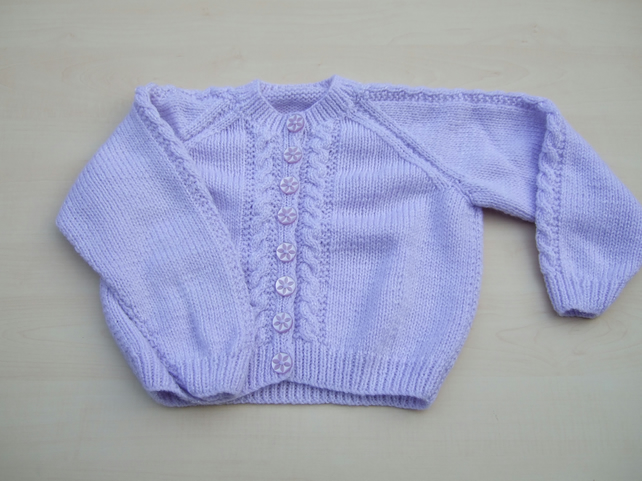 Girls cardigan hand knitted in lilac sparkly yarn to fit 3 - 4 years