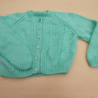 Hand knitted boys girls mint green cardigan 2 - 3 years
