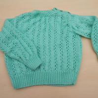 Hand knitted baby jumper in mint green 2 - 3 years