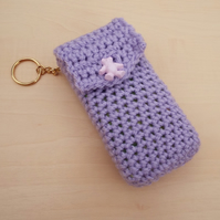 Hand crochet pocket tissue cover keyring - lilac