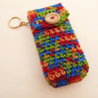 Hand crochet pocket tissue cover keyring multicolour with wooden button