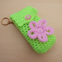 Hand crochet pocket tissue cover keyring - bright green with pink flower