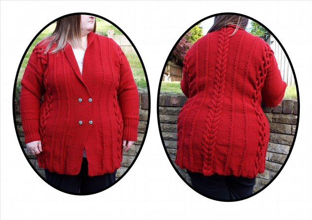 "Hand knitted ladies jacket cardigan size 48"" chest classic red"