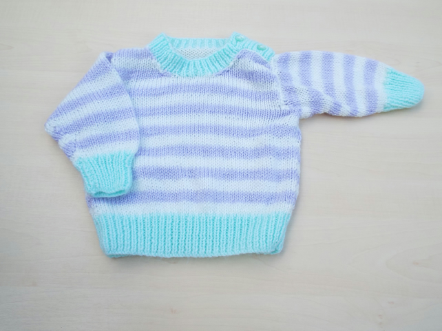 Hand knitted baby lilac and white sparkly striped jumper 3 - 6 months