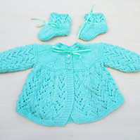 Hand knitted baby cardigan and booties in mint green 0 - 3 months