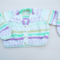 Hand knitted children's multi-colour stripy cardigan to fit 18 - 24 months
