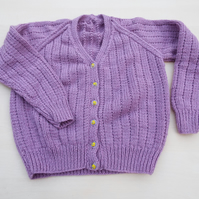 Hand knitted girls mauve cardigan to fit 3 - 4 years