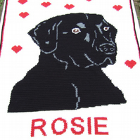 Personalised black lab labrador dog crochet blanket afghan throw