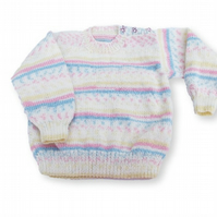 Hand knitted girls stripy jumper 2 - 3 years 24 inch chest