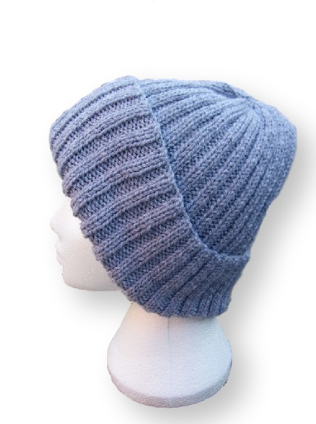Beanie hat hand knitted in silver grey ladies mens