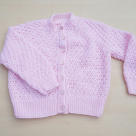 Baby cardigan hand knitted in pink 18 months