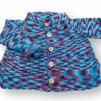 Hand knitted boys girls blue and red cardigan with pockets 6 - 8 years