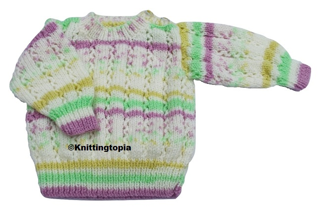 Hand knitted baby jumper in cream, mauve, green and yellow 3 - 6 months