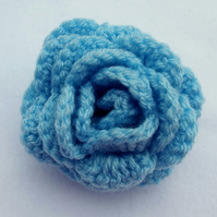 Hair pony tail band large pale blue crochet rose flower hair bobble hair tie