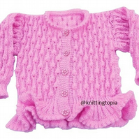 Hand knitted girls sparkly pink bobble cardigan 22 inch chest