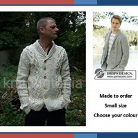 Hand knitted mens jacket cardigan in aran style shawl collar Small 34 inch chest