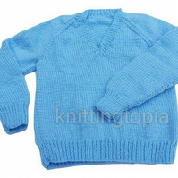 Hand knitted classic blue v neck jumper 24 inch chest boys girls
