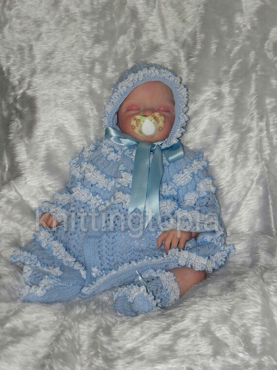 Hand knitted baby lace matinee set 0 - 3 months - made to order