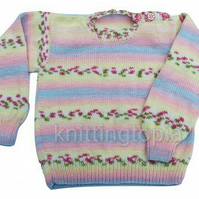Hand knitted classic round neck jumper 26 inch chest girls multicolour
