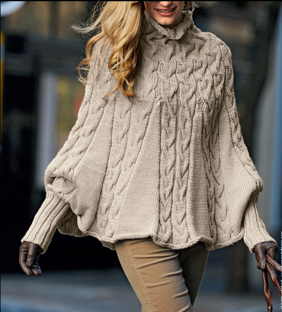 Hand knitted ladies poncho with sleeves and turtleneck small - xx large