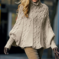 Hand knitted ladies poncho with sleeves and turtleneck large - xxlarge