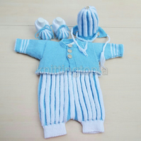 Hand knitted baby stripe romper cardigan hat and booties set 0 - 3 months