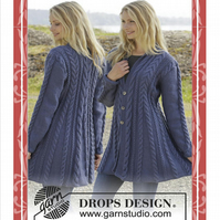 Hand knitted fit n flared aran style jacket cardigan with cables for ladies