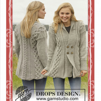 Hand knitted ladies aran style cable knit jacket cardigan S - XXXL