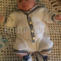 Hand knitted baby sailor romper hat and booties se made to order 0 - 6 months