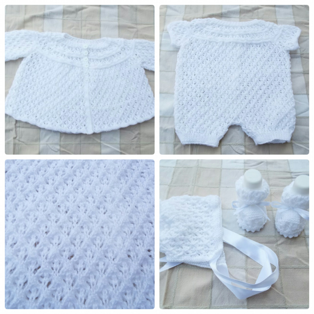 Baby lacy romper set with cardigan, bonnet and booties 0 - 3 months